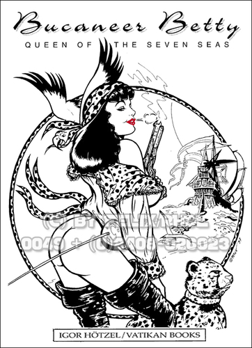 Cartoon: Bucaneer Betty by FeliX! (medium) by FeliXfromAC tagged pin,felix,the,girls,pinup,art,poster,aachen,nrw,germany,erotic,erotik,felixfromac,crazy,gun,zeichner,comiczeichner,comic,illustration,line,bw,sw,waerten,waiting,south,of,border,50th,mexico,call,telfon,anruf,sexy,girl,peppita,frazzetta,illustrator,coolbär,