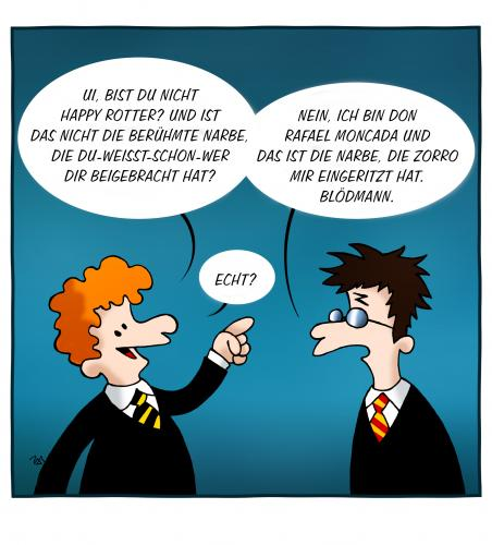 Cartoon: Fragen Fragen (medium) by volkertoons tagged cartoons,volkertoons,humor,harry,potter,zorro,film,kino,movie,parodie,fragen,harry potter,romanfigur,fantasy,kino,literatur,kinder,jugend,zauberer,zaubern,narbe,sarkasmus,harry,potter
