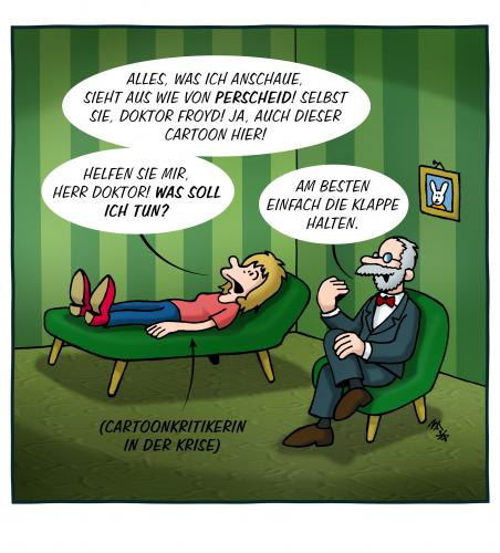 Cartoon: Perscheinoia (medium) by volkertoons tagged cartoon,volkertoons,perscheid,paranoia,freud,psychoanalyse,psychoanalytiker,psycho,klugscheißer