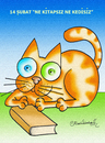 Cartoon: Ne kitapsiz ne kedisiz (small) by halisdokgoz tagged book cat