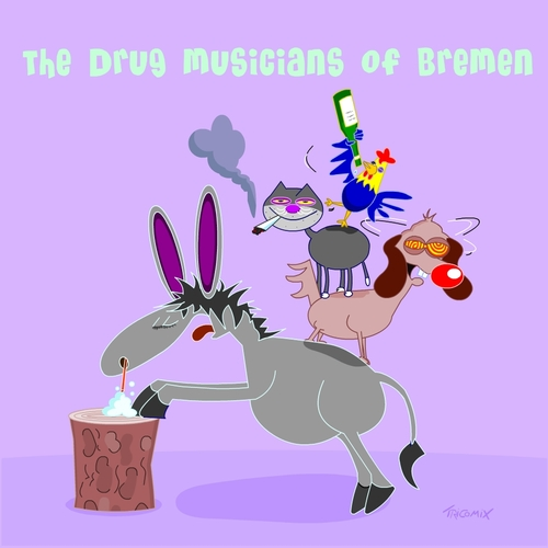 Cartoon: The drug musicans of bremen (medium) by Tricomix tagged lsd,marijuana,drug,alcohol,fairytale,bremen,town,musicians,brothers,grimm,landmark,pill,smoking,weed,donkey,dog,cat,rooster