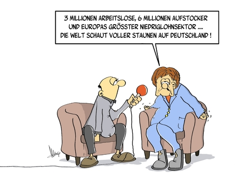 Cartoon: Deutschland geht es gut (medium) by Marcus Gottfried tagged merkel,reporter,interview,millionen,arbeitslose,arbeitslosigkeit,aufstocker,gehalt,armut,hartz,einkommen,agentur,niedriglohn,niedriglohnsektor