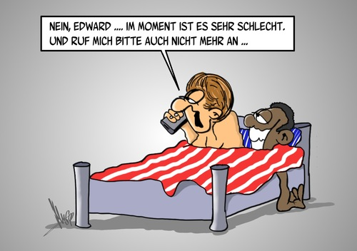 Cartoon: Edward ruft an (medium) by Marcus Gottfried tagged edward,snowden,nsa,usa,deutschland,amerika,agent,spion,landesverrat,bett,anruf,barack,obama,angela,merkel,marcus,gottfried,cartoon,karikatur,ablehnung,beziehung,asyl,bitte,geleit,verhältnis,prism,daten,datensicherung,abhören