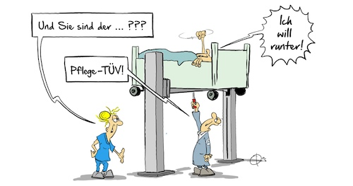 Cartoon: PflegeTÜV (medium) by Marcus Gottfried tagged pflege,tüv,pflegeheim,altenheim,pflege,tüv,pflegeheim,altenheim