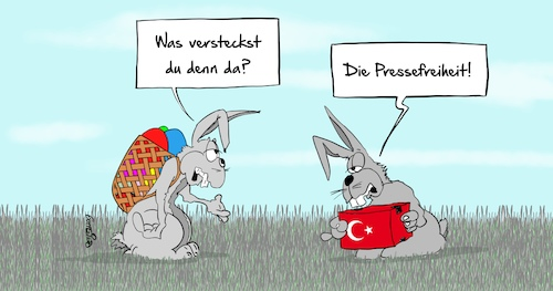 Cartoon: Pressefreiheit (medium) by Marcus Gottfried tagged türkei,presse,pressefreiheit,europa,erdogan,journalisten,kritik,diktatur,ostern,hase,osterhase,verstecken,marcus,gottfried,cartoon,karikatur,türkei,presse,pressefreiheit,europa,erdogan,journalisten,kritik,diktatur,ostern,hase,osterhase,verstecken,marcus,gottfried,cartoon,karikatur