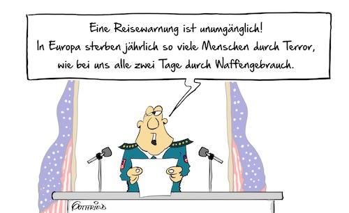 Cartoon: Reisewarnung (medium) by Marcus Gottfried tagged trump,donald,reise,urlaub,ferien,europa,usa,warnung,reisewarnung,terror,waffen,waffengebrauch,schießerei,schuss,is,islam,glaube,feinde,freunde,marcus,gottfried,cartoon,karikatur,trump,donald,reise,urlaub,ferien,europa,usa,warnung,reisewarnung,terror,waffen,waffengebrauch,schießerei,schuss,is,islam,glaube,feinde,freunde,marcus,gottfried,cartoon,karikatur