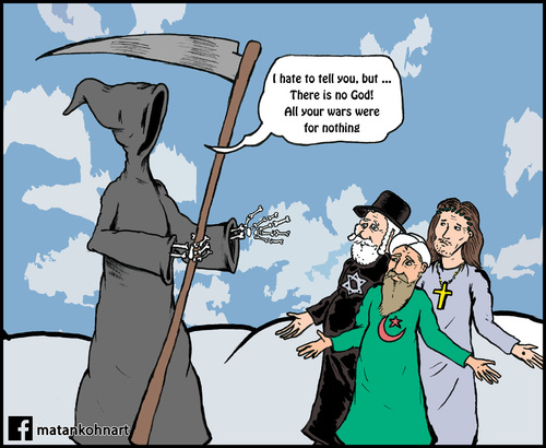 Cartoon: God is no good (medium) by matan_kohn tagged god,religion,jewish,christian,islam,funny,death,sky,heaven,caricature,matan,kohn