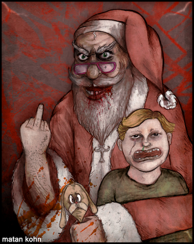 Cartoon: Ho ho ho... merry Christmas (medium) by matan_kohn tagged christmas,santaclaus,santa,scary,blood,ghotic,funny,santamemes,happynewyear,kids,red,marrychristmas,joke,toon,illustration,art,fanart,drawing,creepy,crying,ho
