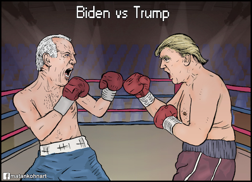 Cartoon: Joe Biden vs Donald Trump (medium) by matan_kohn tagged joe,biden,donald,trump,battle,run,fight,coronavirus,boxing,presidency,election,2020,usa,america,politics,elections,washington,dc,democraty,repoblicans,presifent