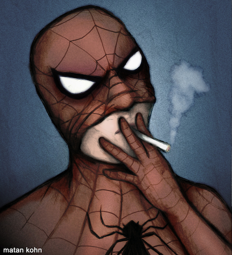 Cartoon: Smoking Spider-Man (medium) by matan_kohn tagged spiderman,spider,spidermanmemes,funny,comics,marvel,marvelcomics,smoke,smoking,cigarette,cool,drawing,illustration,art,pencildrawing,sketch