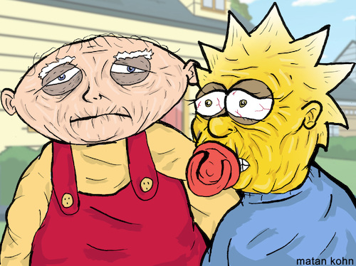 Cartoon: Stewie and Maggie old babies (medium) by matan_kohn tagged familyguy,tvshow,thesimpsons,funny,illustration,drawing,art,babies,sketch,old,love,hot,lol,joking,lamo,griffin,humor