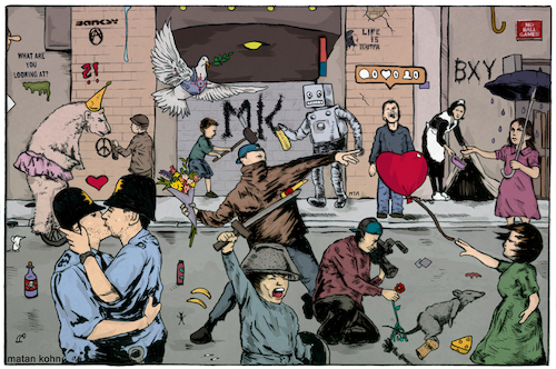 Cartoon: The art of Banksy (medium) by matan_kohn tagged amazing,banksy,fanart,graffiti,illustration,streetart,wall,art,tribute,funny