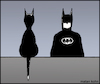 Cartoon: cat and bat (small) by matan_kohn tagged batman,cat,cats,funny,comics