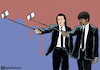 Cartoon: Pulp fiction selfie (small) by matan_kohn tagged pulp,fiction,quentin,tarantino,john,travolta,samuel,jackson,movie,movies,film,funny,cricature,actor,cinma,mobail,phone,selfie,selfiestick,suit,blood