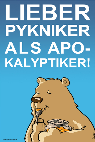 Cartoon: Pykniker vs. Apokalyptiker (medium) by Thomas Martin tagged doomsday,apokalypse,weltuntergang,eating