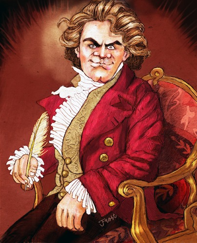 Cartoon: Beethoven in Chair with Quill (medium) by frostyhut tagged beethoven,classical,composer,hair,genius,hero,german,music,conductor,symphony,orchestra,sonata,chambermusic,famous,jacket,19thcentury
