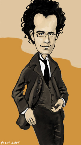Cartoon: Gustav Mahler (medium) by frostyhut tagged german,composer,mahler,suit,glasses,curly,music,caricature