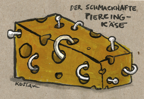 Cartoon: Piercing-Käse (medium) by Kossak tagged piercing,käse,trend,kultur,metall,essen,piercing,käse,trend,kultur,metall,essen