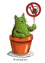 Cartoon: Catus (small) by Kossak tagged katze,kaktus,cat,cactus,flowerpot,blumentopf,gießkanne,sign,schild