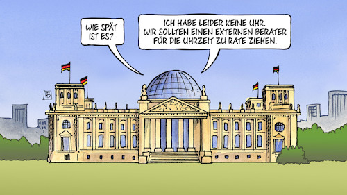 Cartoon: Berater für alles (medium) by Harm Bengen tagged externe,berater,uhrzeit,bundestag,reichstag,ministerien,kosten,harm,bengen,cartoon,karikatur,externe,berater,uhrzeit,bundestag,reichstag,ministerien,kosten,harm,bengen,cartoon,karikatur
