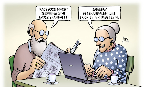Cartoon: Facebook-Rekordgewinn 2018 (medium) by Harm Bengen tagged facebook,rekordgewinn,skandale,susemil,computer,laptop,harm,bengen,cartoon,karikatur,facebook,rekordgewinn,skandale,susemil,computer,laptop,harm,bengen,cartoon,karikatur