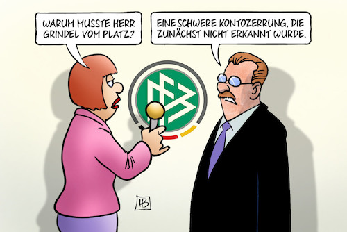 Cartoon: Grindel-Rücktritt (medium) by Harm Bengen tagged rücktritt,dfb,chef,präsident,grindel,platz,bestechung,korruption,auswechslung,kontozerrung,interview,harm,bengen,cartoon,karikatur,rücktritt,dfb,chef,präsident,grindel,platz,bestechung,korruption,auswechslung,kontozerrung,interview,harm,bengen,cartoon,karikatur