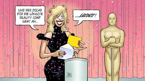 Cartoon: Groko-Oscar (medium) by Harm Bengen tagged oscar,2018,laengste,reality,soap,groko,spd,mitgliedervotum,regierung,deutschland,harm,bengen,cartoon,karikatur,oscar,2018,laengste,reality,soap,groko,spd,mitgliedervotum,regierung,deutschland,harm,bengen,cartoon,karikatur