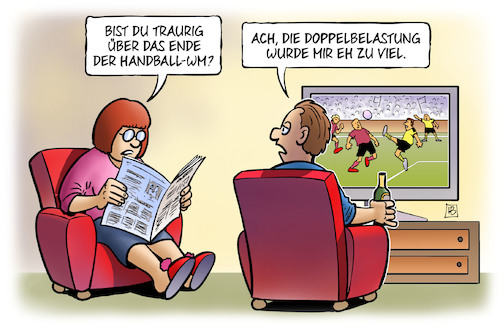 Cartoon: Handball-WM-Ende (medium) by Harm Bengen tagged ende,handball,wm,fussball,doppelbelastung,tv,harm,bengen,cartoon,karikatur,ende,handball,wm,fussball,doppelbelastung,tv,harm,bengen,cartoon,karikatur