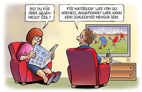 Cartoon: Hoeness kritisiert Özil (medium) by Harm Bengen tagged hoeness,uli,angefeindet,fc,bayern,münchen,tv,özil,mesut,fussball,rücktritt,nationalmannschaft,dfb,grindel,erdogan,foto,rassismus,integration,harm,bengen,cartoon,karikatur,hoeness,uli,angefeindet,fc,bayern,münchen,tv,özil,mesut,fussball,rücktritt,nationalmannschaft,dfb,grindel,erdogan,foto,rassismus,integration,harm,bengen,cartoon,karikatur