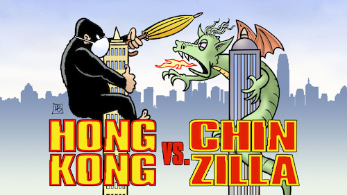 Cartoon: Hong Kong vs Chinzilla (medium) by Harm Bengen tagged hongkong,king,kong,godzilla,drache,china,kampf,demonstrationen,demokratiebewegung,film,democracy,movie,harm,bengen,cartoon,karikatur,hongkong,king,kong,godzilla,drache,china,kampf,demonstrationen,demokratiebewegung,film,democracy,movie,harm,bengen,cartoon,karikatur