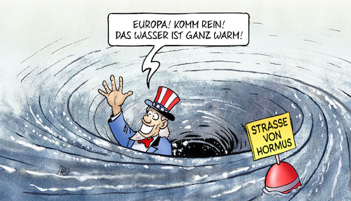 Cartoon: Hormus-Strudel (medium) by Harm Bengen tagged strudel,europa,schwimmen,wasser,warm,strasse,hormus,usa,iran,krieg,harm,bengen,cartoon,karikatur,strudel,europa,schwimmen,wasser,warm,strasse,hormus,usa,iran,krieg,harm,bengen,cartoon,karikatur