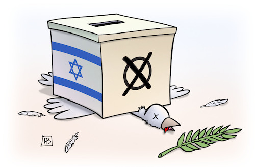 Cartoon: Israel-Wahl (medium) by Harm Bengen tagged israel,wahl,likud,block,netanjahu,rechts,friedenstaube,friedensprozess,harm,bengen,cartoon,karikatur,israel,wahl,likud,block,netanjahu,rechts,friedenstaube,friedensprozess,harm,bengen,cartoon,karikatur
