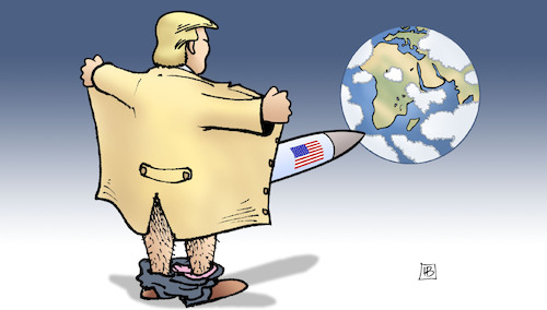 Cartoon: Nach INF-Vertragsende (medium) by Harm Bengen tagged mittelstreckenraketentest,trump,usa,inf,vertrag,kündigen,abrüstung,russland,exhibitionist,welt,harm,bengen,cartoon,karikatur,mittelstreckenraketentest,trump,usa,inf,vertrag,kündigen,abrüstung,russland,exhibitionist,welt,harm,bengen,cartoon,karikatur