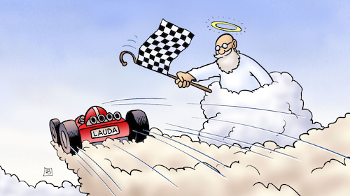 Cartoon: Niki Lauda (medium) by Harm Bengen tagged niki,lauda,rennfahrer,formel1,speed,racing,himmel,petrus,tod,harm,bengen,cartoon,karikatur,niki,lauda,rennfahrer,formel1,speed,racing,himmel,petrus,tod,harm,bengen,cartoon,karikatur