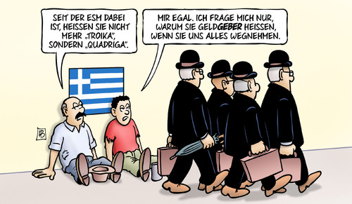 Cartoon: Quadriga (medium) by Harm Bengen tagged esm,quadriga,geldgeber,erpressung,drohung,privatisierung,bettler,europa,grexit,troika,institutionen,eu,ezb,iwf,griechenland,pleite,schulden,harm,bengen,cartoon,karikatur,esm,quadriga,geldgeber,erpressung,drohung,privatisierung,bettler,europa,grexit,troika,institutionen,eu,ezb,iwf,griechenland,pleite,schulden,harm,bengen,cartoon,karikatur
