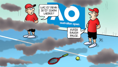 Cartoon: Rauchpause Australien (medium) by Harm Bengen tagged rauchpause,australien,australian,open,tennis,feuer,buschbrände,balljungen,qualm,rauch,harm,bengen,cartoon,karikatur,rauchpause,australien,australian,open,tennis,feuer,buschbrände,balljungen,qualm,rauch,harm,bengen,cartoon,karikatur