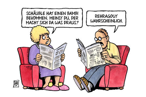 Cartoon: Schäuble-Bambi (medium) by Harm Bengen tagged schäuble,bambi,preisverleihung,springer,verlag,tv,rehragout,harm,bengen,cartoon,karikatur,schäuble,bambi,preisverleihung,springer,verlag,tv,rehragout,harm,bengen,cartoon,karikatur