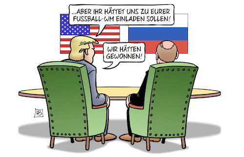 Cartoon: Treffen Helsinki (medium) by Harm Bengen tagged fussball,wm,einladen,sieger,trump,putin,donald,wladimir,treffen,usa,russland,helsinki,harm,bengen,cartoon,karikatur,fussball,wm,einladen,sieger,trump,putin,donald,wladimir,treffen,usa,russland,helsinki,harm,bengen,cartoon,karikatur