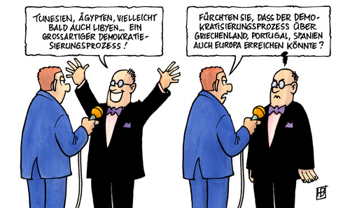 Cartoon: Tunesien-Ägypten (medium) by Harm Bengen tagged tunesien,ägypten,libyen,proteste,demonstrationen,niederschlagung,demokratie,portugal,giechenland,spanien,tunesien,ägypten,libyen,proteste,demonstrationen,niederschlagung,demokratie,portugal,giechenland,spanien
