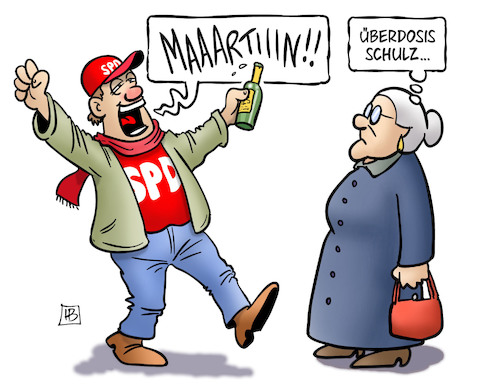 Cartoon: Überdosis (medium) by Harm Bengen tagged überdosis,susemil,alkohol,fan,jubel,freude,spd,kanzlerkandidat,martin,schulz,harm,bengen,cartoon,karikatur,überdosis,susemil,alkohol,fan,jubel,freude,spd,kanzlerkandidat,martin,schulz,harm,bengen,cartoon,karikatur
