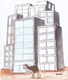 Cartoon: Ostrich (small) by cizofreni tagged ostrich,devekusu,city,kent,concrete,buildings,beton