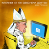 Cartoon: papst Franziskus - Internet (small) by csamcram tagged papst,franziskus,internet,gott