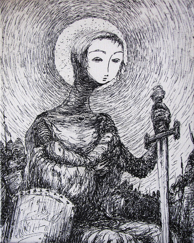 Cartoon: jeanne d arc with twins (medium) by nootoon tagged nootoon,germany,traditional,art,bw