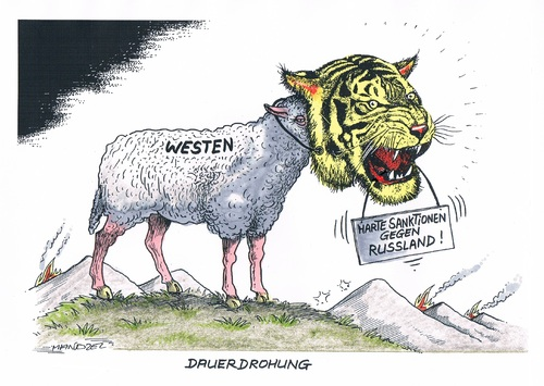 Cartoon: Maßnahmen gegen Russland (medium) by mandzel tagged ukraine,sanktionen,westen,russland,tiger,schaf,ukraine,sanktionen,westen,russland,tiger,schaf
