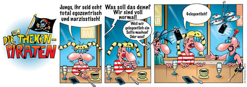 Cartoon: Die Thekenpiraten 72 (medium) by stefanbayer tagged bar,thekenpiraten,piraten,theke,jungs,lounge,kneipe,narzissmus,narzisstisch,egozentrisch,mädchen,foto,selfie,egozentrik,drohne,selfiestick,facebook,posten,netzwerke,handy,smartphone,bay,stefanbayer,technik,freizeit,computer,internet