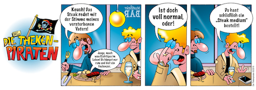 Cartoon: Die Thekenpiraten 83 (medium) by stefanbayer tagged theke,piraten,thekenpiraten,bar,kneipe,lounge,club,alkohol,bier,wein,essen,gastronomie,medium,steak,ernährung,mystifizierbar,bay,bayer,stefanbayer