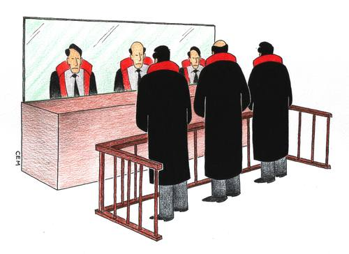 Cartoon: mirror and judgement (medium) by cemkoc tagged rights,judgeship,magistrate,court,judge,mirror,judgement,cartoons,law,karikatürleri,hukuk,juridical,jurist