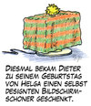Cartoon: Bildschirmschoner (small) by Andreas Pfeifle tagged bildschirm,bildschirmschoner,geschenk,geschenkidee