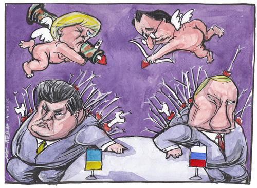 Cartoon: minsk peace talks (medium) by Tchavdar tagged separatism,lugansk,donetsk,russia,ucraine,peace,war,valentine,cupid,hollande,merkel,putin,poroshenko,minsk