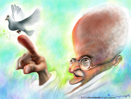 Cartoon: Mahatma Gandhi (medium) by allan mcdonald tagged paz